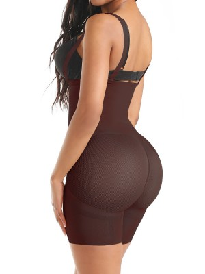 Ultrathin Dark Coffee Seamless Full Body Shaper Sheer Mesh Body Slimmer