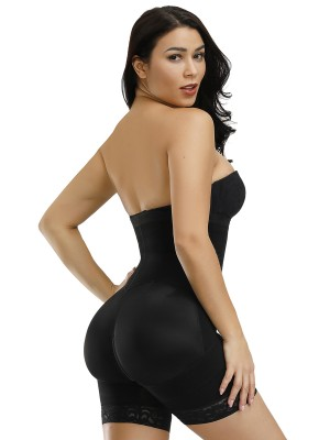 Two-Timing Black Detachable Straps Full Body Shaper Zipper Slim Fit