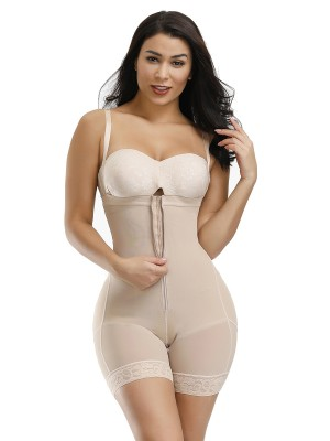 Powerful Skin Color Full Body Shaper Two Plastic Bones Straps Curve Shaper