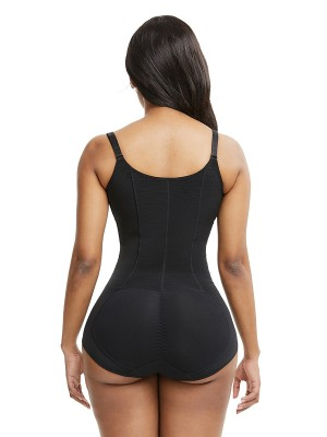 Black Large Size Shapewear Bodysuit Front Zipper Smooth Silhouette