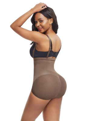 Charming Light Coffee Color Sheer Mesh Panty Shapewear Open Crotch