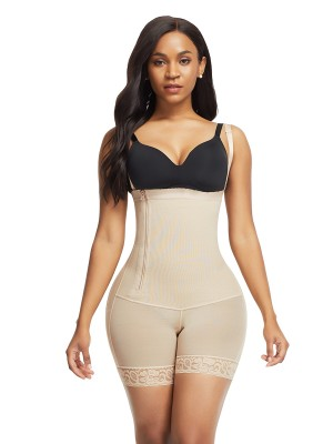 Supper Fashion Skin Color Underbust Zipper Body Shaper Lace Trim
