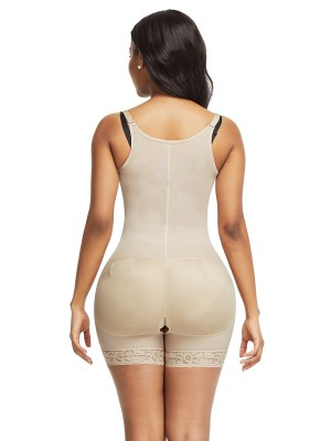 Functional Skin Color Full Body Shaper Lace Trim Front Zipper