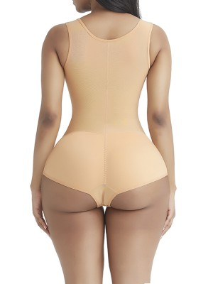 Sleek Smoothers Skin Color Wide Strap Zipper Full Body Shaper