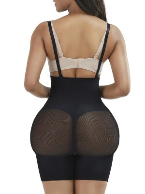 Black Seamless Sheer Mesh Full Body Shaper Curve Creator