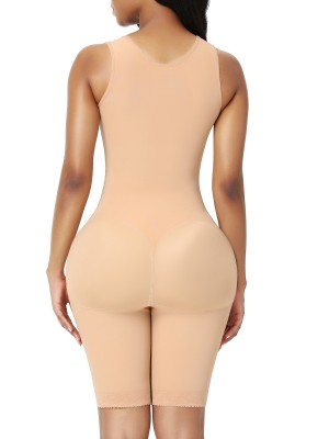 Full Body Shaper Dark Skin Zipper Inner Hooks Medium Control