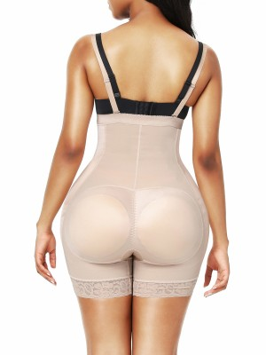 Skin Color Adjustable Straps Padded Hip Shapewear Open Crotch Slim Waist