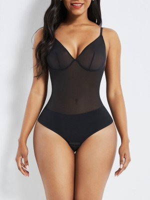 Black See Through Mesh Shapewear Thong Bodysuit Slimming Waist