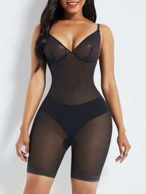 Black Open Gusset See Through Full Body Shaper Hourglass Figure