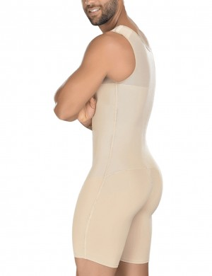 Unbelievable Nude Queen Size Hooks Male Body Shaper Open Crotch Medium Control