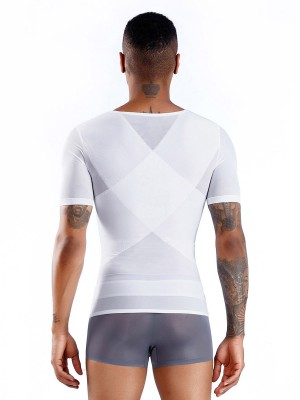 High Quality White Short Sleeve Men's Shaper Sheer Mesh Tight Fit