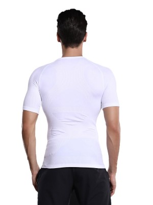 Impeccable White Seamless Men's Shaper Raglan Sleeve Shapewear