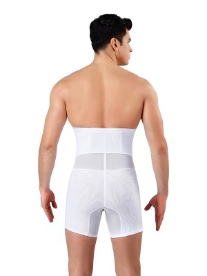 Bodycon White 3 Rows Hooks Mesh Men Booty Lifter Body Trimmer