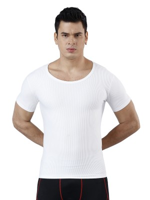 High-Compression White Tummy Control Rib Men Shaper Seamless