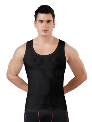 Ultimate Slimmer Black Seamless Men's Tank Round Collar Light Control