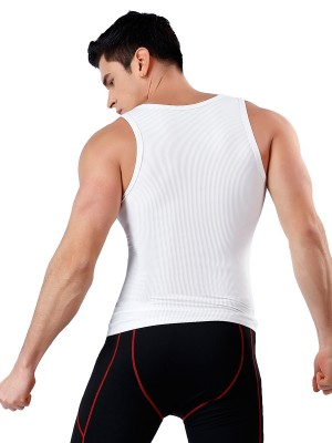 Compression Silhouette White Solid Color Wide Strap Men Top Shaper Slim Shape