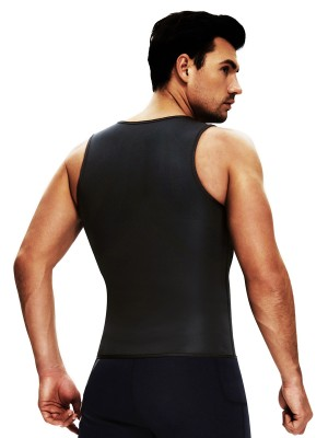 Black Men's Neoprene Slimming Vest With Zipper Tummy Control