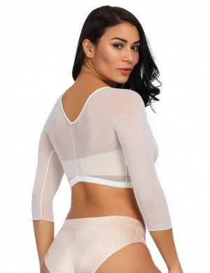Higher Power White Mesh Shaping Crop Top Plunging Neck Curve Creator