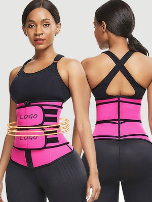 Rose Red Neoprene Waist Trainer Adjustable Double Belts Compression