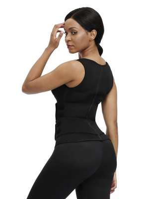 Natural Black Neoprene Cami Shaper Solid Color Double Waist Slimmer
