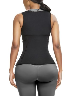 Sheer Black Neoprene Waist Trainer Vest With Sticker Sleek Curves