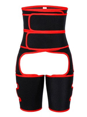 Moderate Control Red High Rise Neoprene Shaper Contrast Color Body Shaper