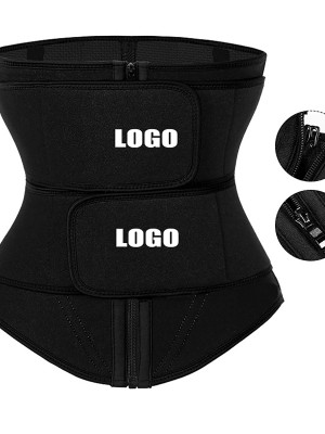 Black Neoprene Double Belts Waist Trainer High-Compression