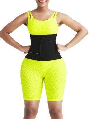 Women Lose Fat Black Neoprene 5 Bones Waist Belt Stretchy
