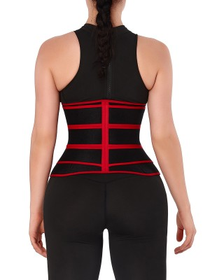 Breathable Red Sweat Waist Trainer With Three-Belt Calories Burning
