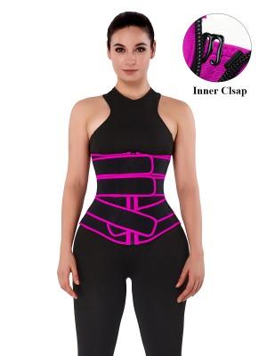 Abdominal Control Rose Red Neoprene Waist Trainer 10 Steel Bones