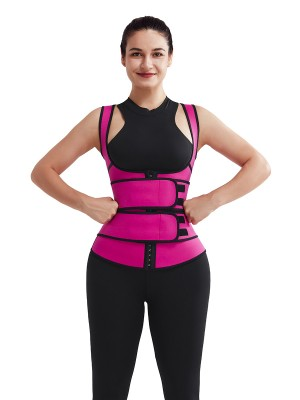 Rose Red 3 Layers Neoprene Vest Shaper Sticker Hooks Slimming Tummy