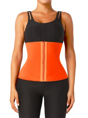 Orange Zipper Neoprene Waist Trainer Plus Size Leisure Fashion