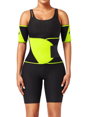 Light Yellow Colorblock Embossed Waist Belt Neoprene Fat Burner