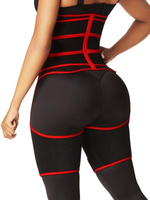 Red High Waist Sticker Thigh Shaper With Zipper Custom Logo