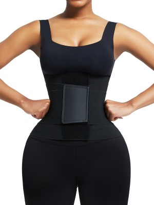 Black Neoprene Waist Trainer 5 Plastic Bones Sticker Slimming Tummy