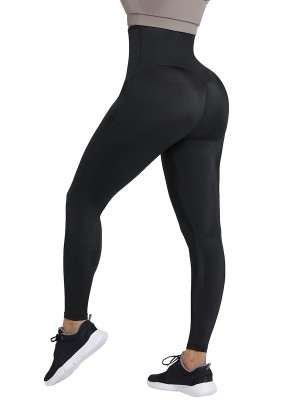 Dark Blue Neoprene Leggings Shaper 3 Rows Hooks High Rise Figure Slimmer