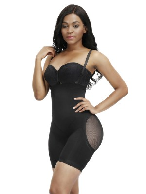 Basic Shaping Black Double Straps Seamless Full Body Shaper High Impact