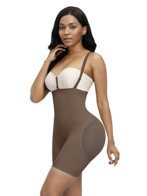 Fashionable Light Coffee Single Layer Straps Full Body Shaper Slimmer