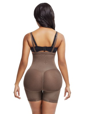 Light Coffee Single Layer Straps Full Body Shaperwear Flatten Tummy