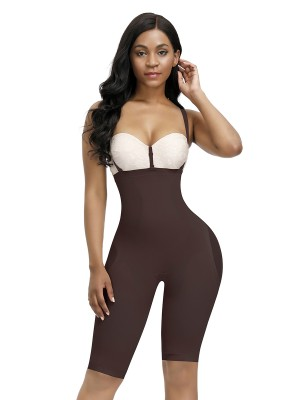 Sophisticated Dark Coffee Full Body Shaper Thigh Length Mesh Meticulous Design