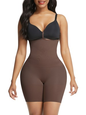 Deep Coffee Seamless Tummy Firm Control Shorts Shapewear Elastic