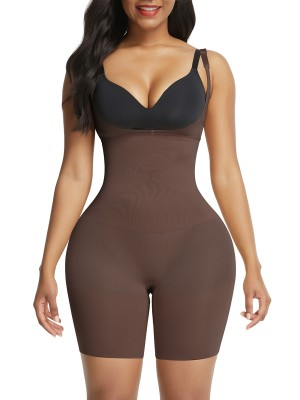Deep Coffee High Waisted Seamless Body Shapewear Shorts Higher Power