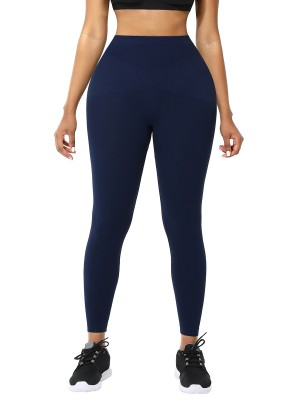 Dark Blue Solid Color Queen Size Leggings Athletic Apparel