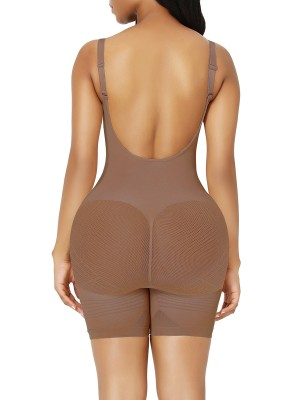 Light Coffee Best Plus Size Full Body Shaper Open Crotch Secret Slimming