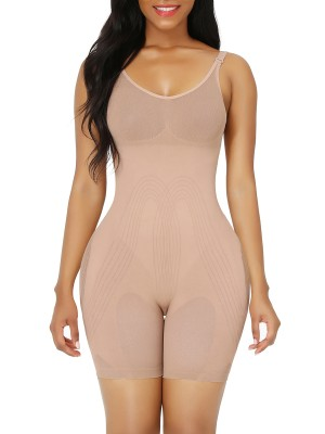 Skin Color Full Body Tummy Shapewear Adjustable Straps Smoothlines