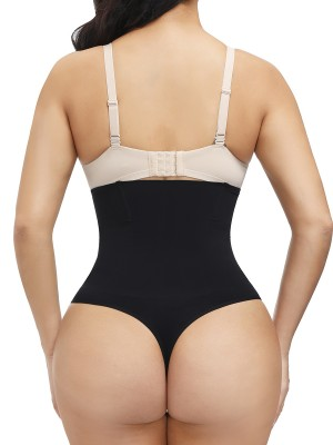 Black Seamless Body Shaper Thong 4 Steel Bones Curve-Creating