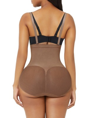 Light Brown Adjustable Straps Seamless Bodysuit Shapewear Compression