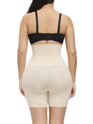 Skin Color High Rise Butt Lifter Solid Color Seamless Waist Control