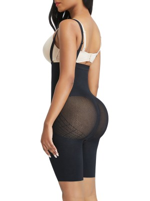 Black Seamless Body Shapers Mesh Strap Plus Size Basic Shaping