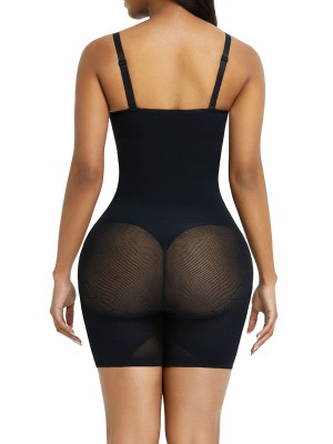 Black Open Gusset Seamless Bodysuit Shapewear Tummy Training